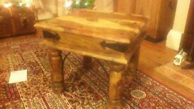 Indian rustic side table solid hardwood excellent condition