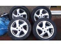 "Peugeot alloy wheels, set, 15"", 4 stud"