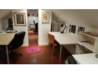 Desk to rent in bright creative office space- Byres Road