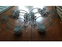 2 x pretty white candle holders