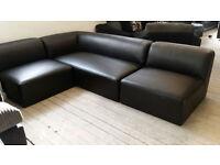 GRADED Contemporary Black Leather Modular Corner Sofa Suite FREE LOCAL DELIVERY