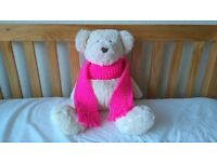 Kids Scarf Bright Pink Girls or Boys Knitted Woollen Xmas Childrens Christmas (free postage)