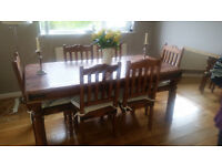 Mango wood dining table and 6 chairs with cushions