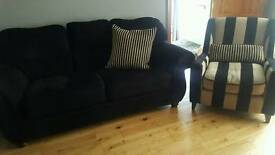 Black sofa 3+3+1