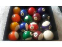 "Full set (16) of 1 7/8"" (47.6mm) pool balls"