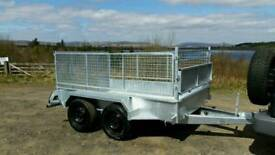 8 X 5 twin axle trailer stamped mesh sides removable galvanised