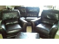 2 seater sofa 2 chairs 1foot stool dark brown