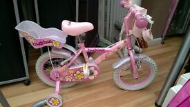 """Little Girls pink daisychain bike with stabilisers, 14"""", doll seat, bag, purse and princess bell"""