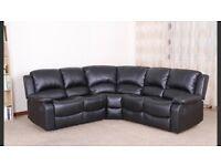 Brand new Vancouver black leather reclining corner sofa