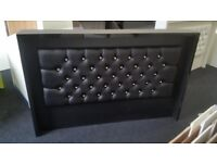 Reception Desk in Black Matt with Padded Front/Ref: 0421