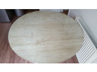 Marble kitchen/dining table with protective glass