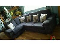 Corner sofa bed chair and footstool