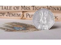 2016 Peter Rabbit, Beatrix Potter, 50p Fifty Pence Coin. Uncirculated