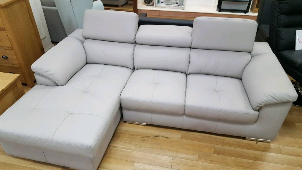 Stunning grey italian leather corner sofa with chaise and adjustable headrests