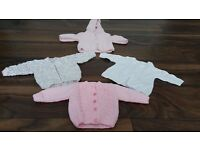 Baby cardigans, two sets. Newborn and 0-3 months.