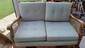 Antique two seater cane settee