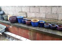 13 plant pots various sizes