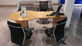 Salesperson desk and 3 chairs