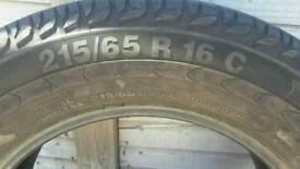 215 65 16 vanco 2 continental part worn van tyres... Bargain for 2 tyres