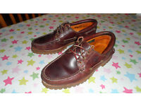 Timberland Mens Shoes 30003 3-Eye Classic Lug Burgundy, Size 8, Excellent Condition!