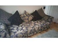 Dfs large sofa dark plum beige feather down cushions 3 4 seater