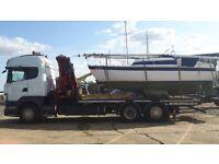 boat transport. crane lifting