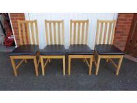 4 Oak & Faux Leather Dining Chairs FREE DELIVERY (02109)