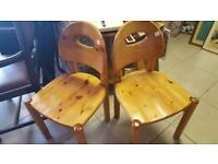 Pair Of Solid Pine Saddle Seat Chairs