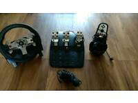 Logitech G25 race wheel, shifter and pedals for PC and PlayStation
