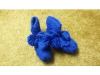 Baby boy wool blend blue booties socks shoes slippers 3-6-9-12 mhs sole 12-13 cm