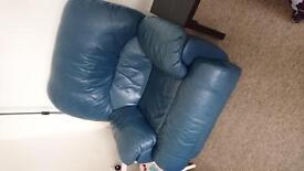 3 piece leather suite - Blue - Fully Reclining