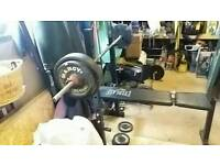 Bench.bar and 50kg weights