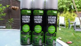 SILVER WHEEL PAINT X 3. LARGE AUTOTEK 500ml CANS. REFURB YOUR ALLOYS TO LOOK LIKE NEW