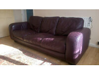 Leather sofa, 3 seater, Plum colour, settee