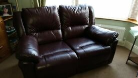 3 seater leather sofa, and 2 seater leather sofa, with reclining seats, as new condition.