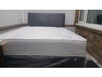 NEW DOUBLE OR SMALL DOUBLE DIVAN BED WITH HALLIBURTON MATTRESS