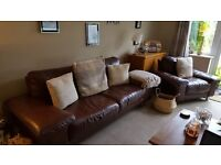 Italian Leather Three piece sofa and two chairs