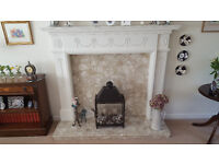 Decorative 'Glastonbury' wooden white fireplace surround with marble hearth