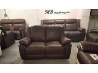 NEW ScS LEO BROWN LEATHER 2 SEATER SOFA Can Deliver Viewing Collection Kirkby in Ashfield NG177