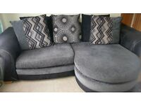 DFS Charcoal & light grey large sofa & chair