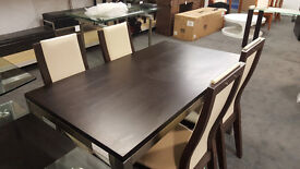 Oak Dining Table With Nickel Legs