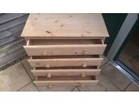 Pine hand sanded 4 drawer chest of drawers