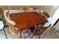 RECTANGULAR PINE TABLE WITH 2 CHAIRS