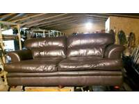 Pair of soft brown leather sofas