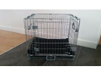 2 Door Dog Training Crate with Removable Bedding Pad