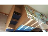 Kids Bed With Storage Steps. 1 year old. very good condition, with mattress and chest of 3 drawers
