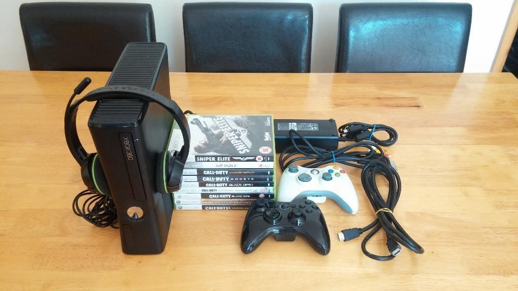 Xbox 360 Slim Glossy Vs Matte Xbox 360 Slim with games and