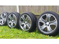 20 inch alloy wheels 5x120 275/40/20 almost NEW TYRES vw transporter t5 etc