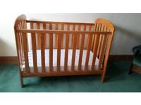 Baby Weavers Pine Drop-Side Cot + Mattress and Mattress Protector
