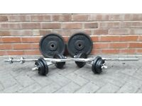 2 x 10KG & EZ BARBELL WITH 2 x 10KG DUMBBELL WEIGHTS SET